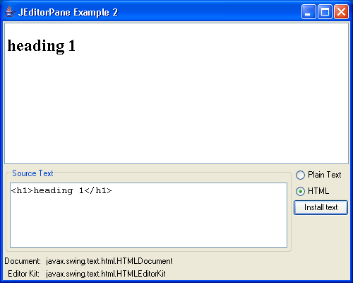JEditorPane and the Swing HTML Package 2