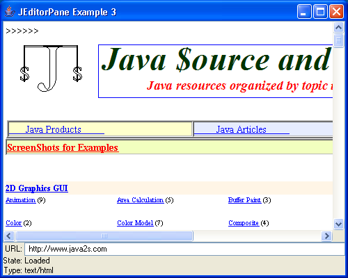 JEditorPane and the Swing HTML Package 3