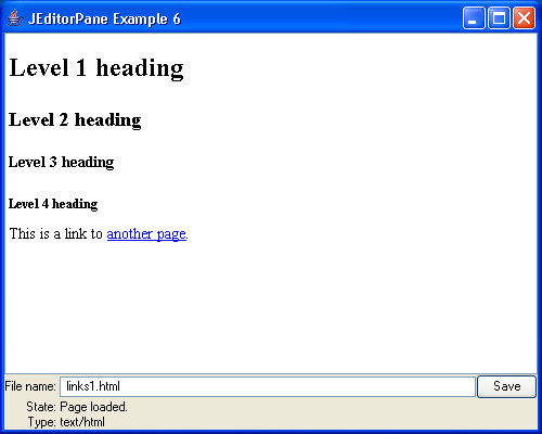 JEditorPane and the Swing HTML Package 6