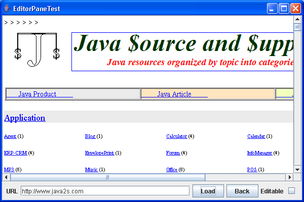 This program demonstrates how to display HTML documents in an editor pane.