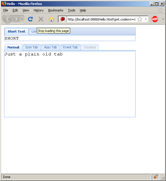 Adding HTML content to a tab panel (Ext GWT)