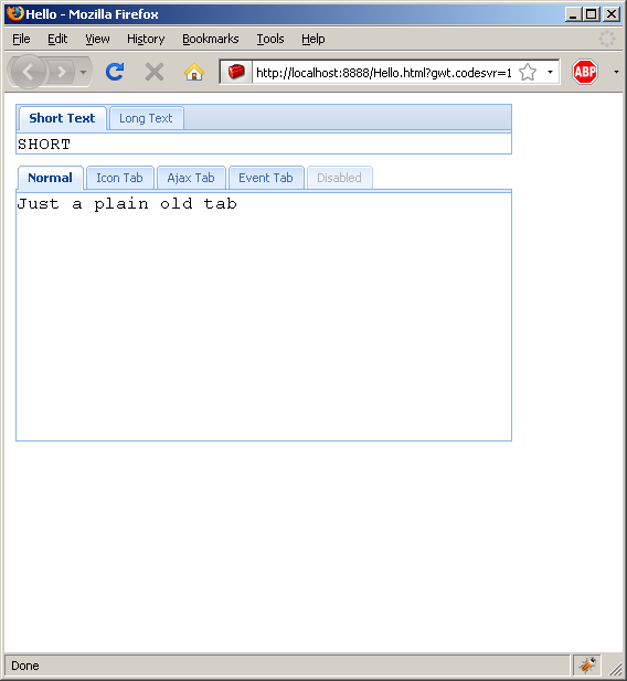 Adding text to tab panel (Ext GWT)