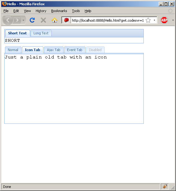 Diable a tab item (Ext GWT)