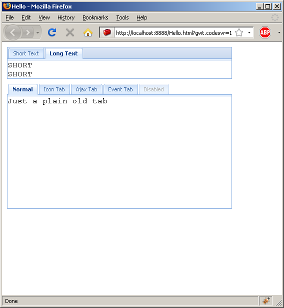 Listen to tab selection event (Ext GWT)
