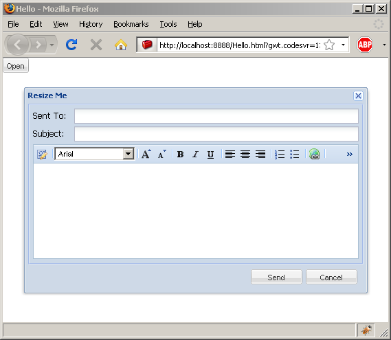 Popup a window from a button action listener (Ext GWT)