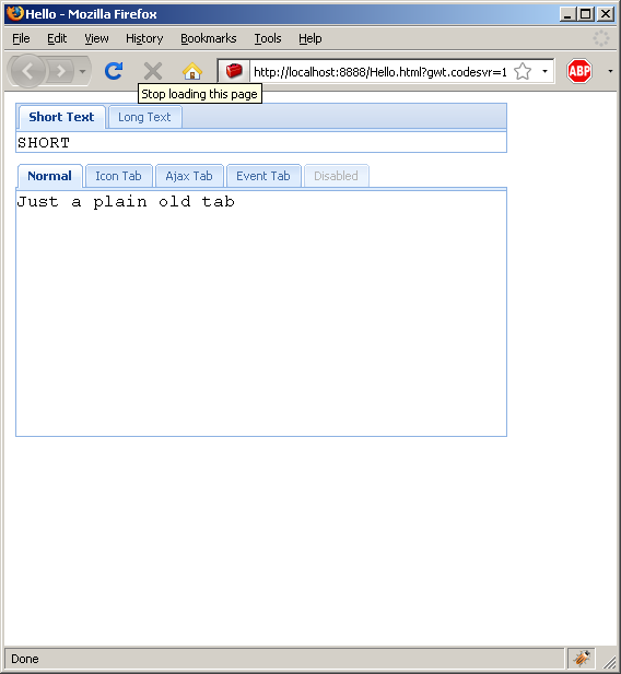 Using VerticalPanel to hold tab panel (Ext GWT)