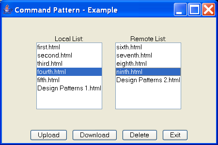 Command Pattern - Example: FTP GUI