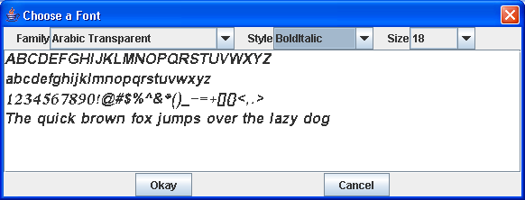 A dialog allow selection and a font and its associated info.