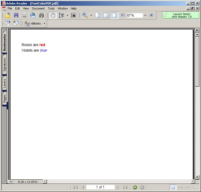 Font Color in PDF
