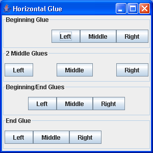 BoxLayout: Glue Sample