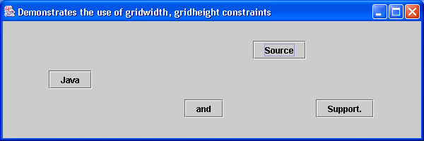 GridBagLayout with gridwidth and gridheight constraints