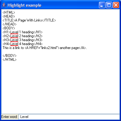 JTextPane Highlight Example