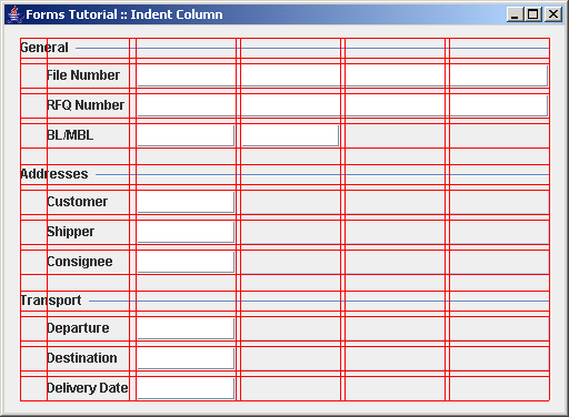 Build a panel with a leading  indent column using the DefaultFormBuilder