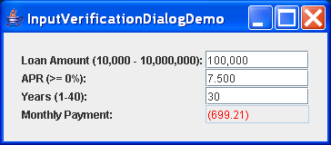 Input Verification Dialog Demo