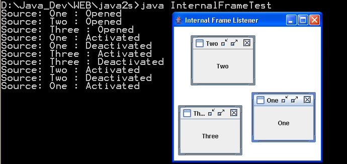 This program demonstrates the use of internal frames