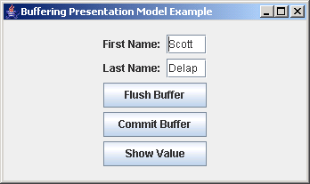 JGoodies Binding: Buffering Presentation Model Example