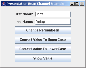 JGoodies Binding: Presentation Bean Channel Example