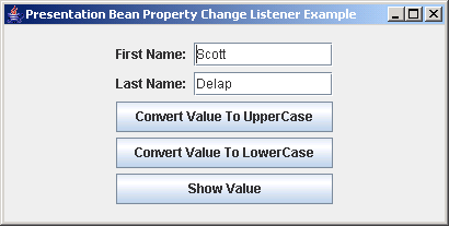 JGoodies Binding: Presentation Bean Property Change Listener Example