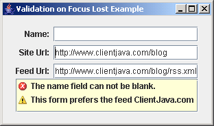 Validating On Focus Lost Example