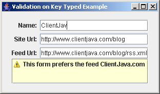 Validating On Key Typed Example