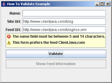 Validation How to Example