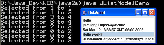 Demonstrate Swing JList ListModel
