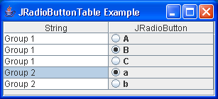 Radio Button Table Example