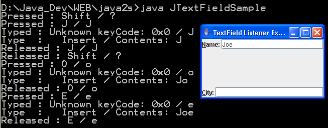 JTextField Sample 2