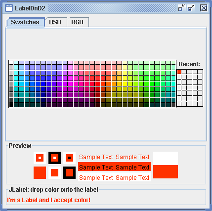 LabelDnD2 allows dropping color onto the foreground of the JLabel