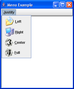 A simple example of constructing and using menus.