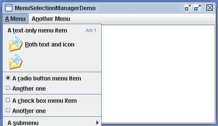 Menu Selection Manager Demo