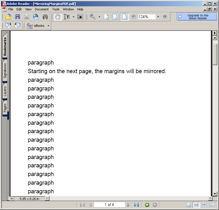 Mirroring Margins in Pdf document