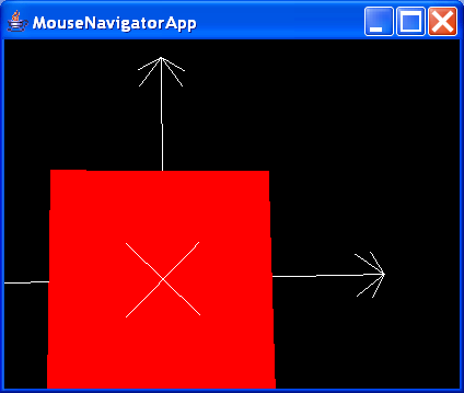 MouseNavigatorApp renders a single, interactively rotatable, traslatable, and zoomable ColorCube object
