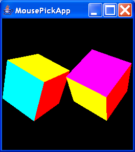 MousePickApp renders two interactively rotatable cubes