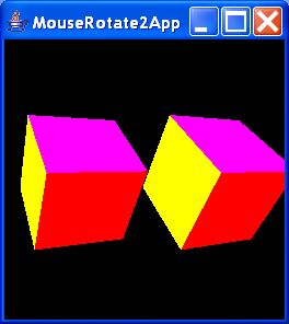 MouseRotate2App renders a single, interactively rotatable cube