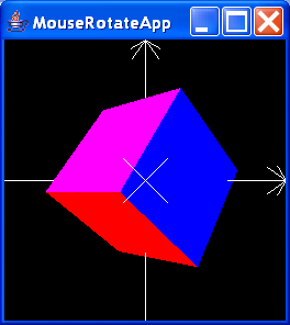 MouseRotateApp renders a single, interactively rotatable cube