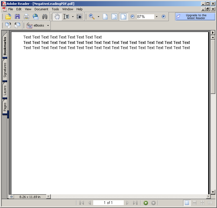 Negative Leading in PDF document