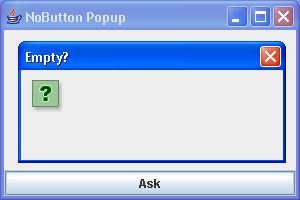 No button dialog