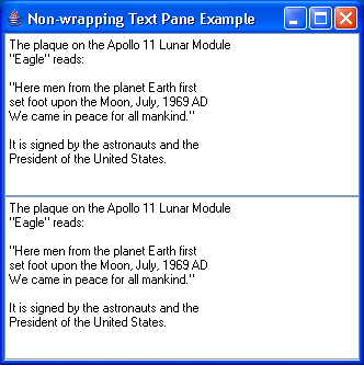 Non Wrapping(Wrap) TextPane