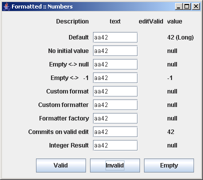 different configurations of JFormattedTextField: Number