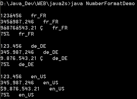 Java I18N: Format : Number Format