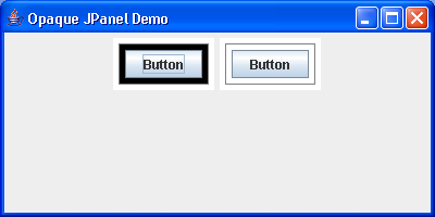 Creates two JPanels (opaque), one containing another opaque JPanel, and the other containing a non-opaque JPanel