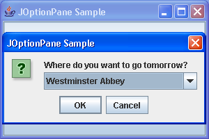 OptionPane Sample: simple dialog