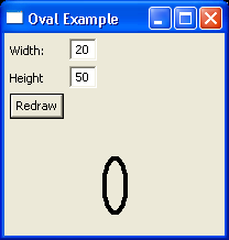 Demonstrates drawing ovals