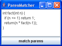 Parentheses matcher