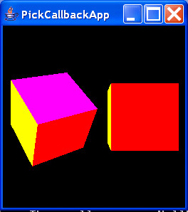 PickCallbackApp renders two interactively rotatable cubes