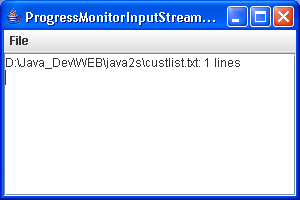 A program to test a progress monitor input stream.