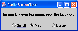 A frame with a sample text label and radio buttons for selecting font sizes