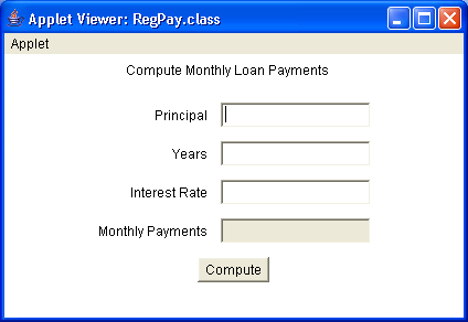 A simple loan calculator applet