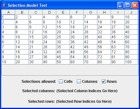 A table with the ability to play with row and column selections
